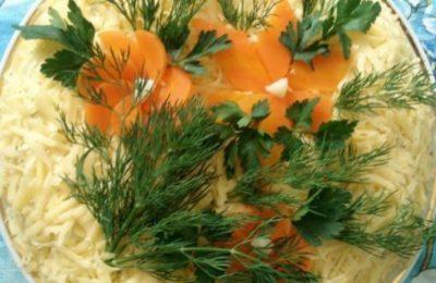 Цыпленок под фруктово-грибной шубкой