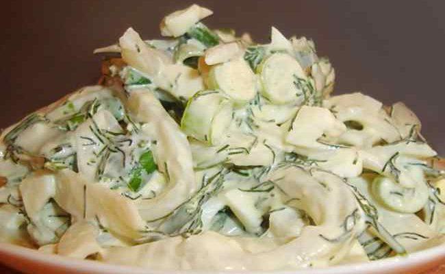 Рецепт приготовления салата из кальмаров
