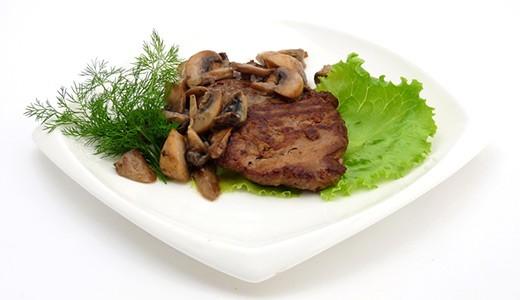 отбивные из говядины с грибами